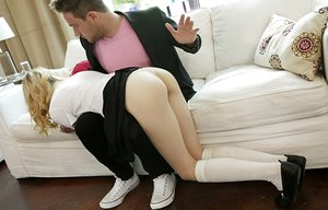 Thin young blonde gets slapped before fucking her stepfather