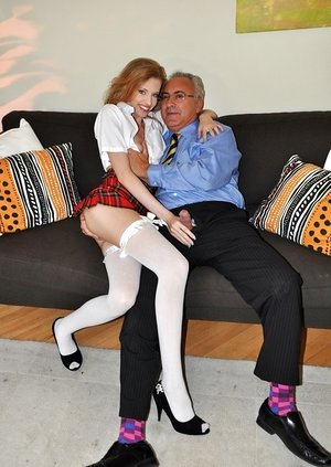 Insane Hungarian girl Angel Hott dons school garment for hookup with an old man