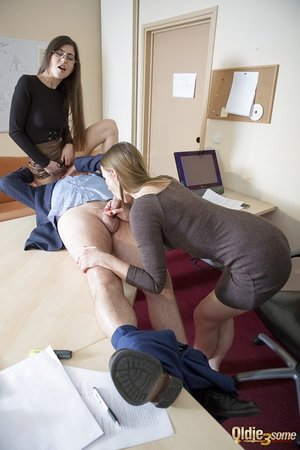 Young secretaries work their way up the ladder by fucking the boss