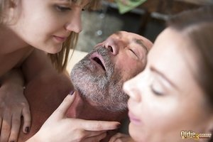 Young white girls seduce and fuck then fuck a really old man together